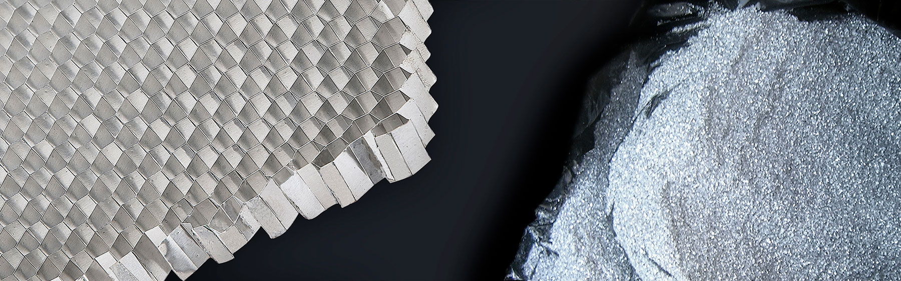During the production of aluminium honeycomb and sandwich panels we produce high quality aluminium powder